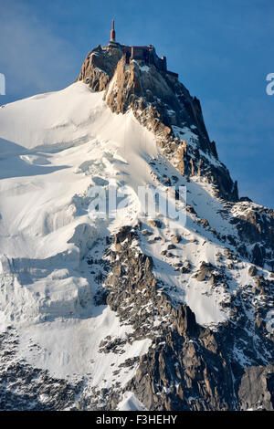 Aiguille du Midi viewed from a cable car on route to the summit, Mont Blanc Massif, Chamonix, French Alps, Haute - Stock Photo