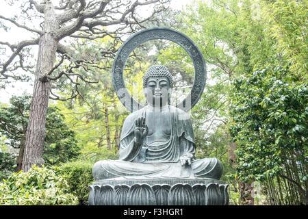 Buddha statue, Japanese Tea Garden, San Francisco, USA - Stock Photo