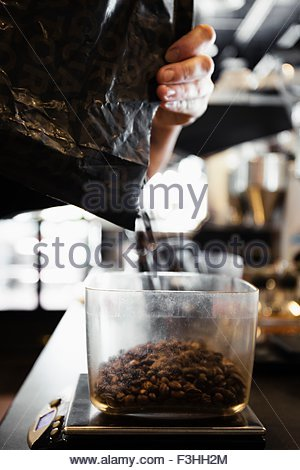 Coffee shop barista pouring coffee beans, close-up - Stock Photo