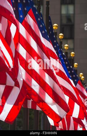Row of American flags, close-up, New York, USA - Stock Photo