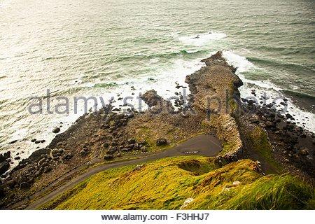 Giants Causeway, Bushmills, County Antrim, Northern Ireland, elevated view - Stock Photo