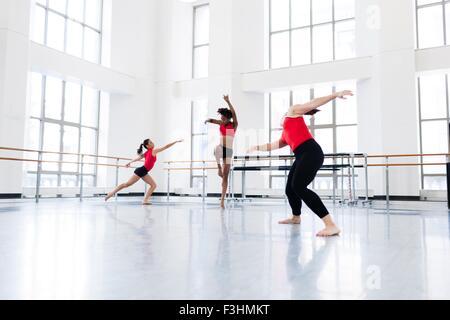 Young women in dance studio dancing - Stock Photo