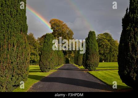 Rainbow over the Yew Walk in Emo Court Gardens, Emo village, County Laois, Ireland - Stock Photo