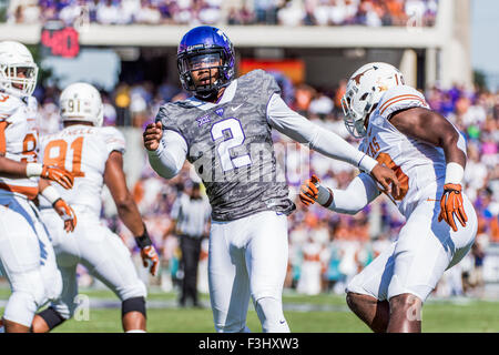 October 3rd, 2015:.TCU Horned Frogs quarterback Trevone Boykin (2) gets rid of the ball as he is blitzed by Texas - Stock Photo