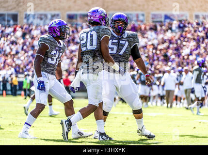 October 3rd, 2015:.TCU Horned Frogs linebacker Montrel Wilson (20) appears to have picked up a fumble, which was - Stock Photo
