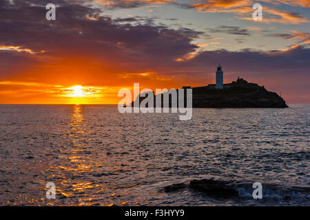 Sunset Over Godrevy Lighthouse, Cornwall, 17th August 2015, - Stock Photo