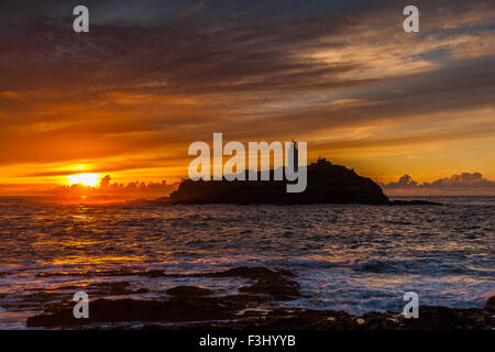 Sunset Over Godrevy Lighthouse, Cornwall, 23rd August 2015, - Stock Photo