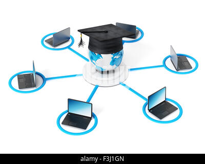 E-learning network. Laptop computer connected to the globe with a graduation cap at the the center point. - Stock Photo