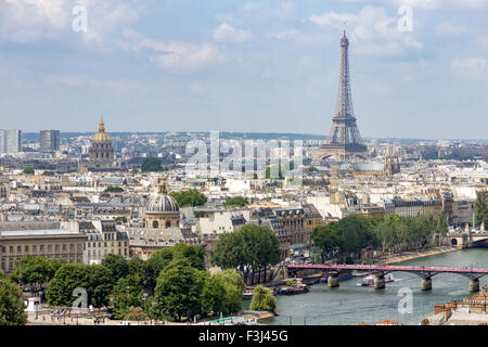 View from the Tour Saint-Jacques on the Eiffel tower. Paris. - Stock Photo