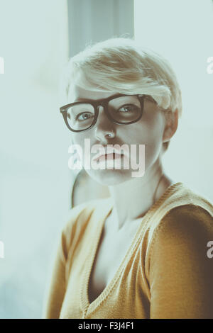 Beautiful hipster girl with short hair - Stock Photo
