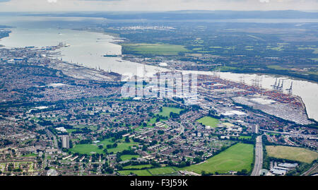 An aerial view of Southampton port and Southampton water, with the Isle of Wight behind, Southern England - Stock Photo