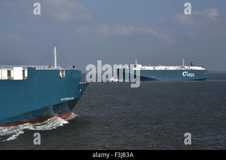 Meeting of UECC-carcarriers Autoprestige and Asian Breeze - Stock Photo