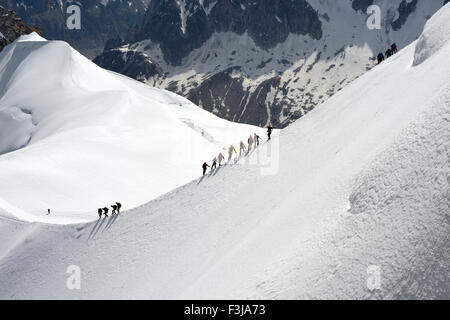 Mountaineers and climbers hiking on a snowy ridge, Aiguille du Midi, Mont Blanc Massif, Chamonix, French Alps, Haute - Stock Photo