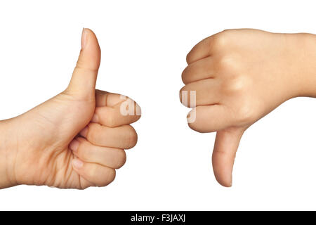 Child's hand forming like and dislike sign isolated on white background - Stock Photo