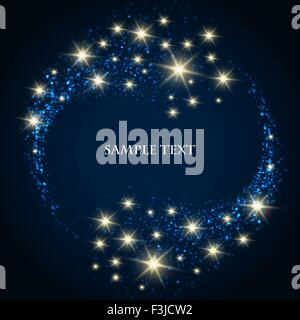 Abstract background with bubbles and shining stars on dark blue background and text sample. - Stock Photo