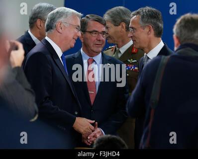 Brussels, Belgium. 8th Oct, 2015. British Defence Secretary Michael Fallon, US Secretary of State for Defense Ashton - Stock Photo