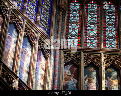 A telephoto lens view of a detail, showing musical angels, of the lantern's interior in Ely Cathedral, Cambridgeshire, - Stock Photo