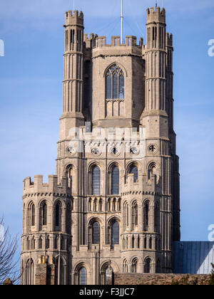 The west tower of Ely Cathedral in Cambridgeshire, England, UK. Viewed from the south with a blue sky. - Stock Photo