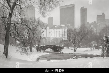Frozen Pond and heavy snowfall in Central Park. Gapstow Bridge and Manhattan high-rises and skyscrapers. Wintertime - Stock Photo