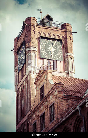 Gothic tower of town hall in Torun-city on The World Heritage List. - Stock Photo