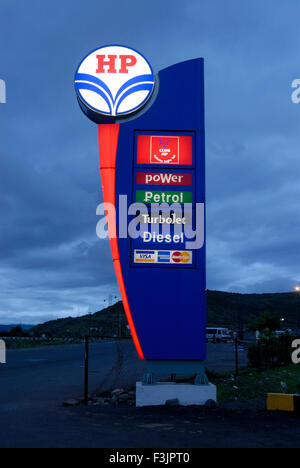 Petrol Pump sign of Hindustan Petroleum at Mumbai Pune Expressway Maharashtra India Asia - Stock Photo