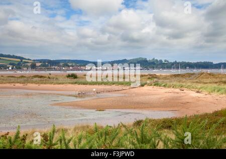 View over the Exe Estuary from Dawlish Warren Nature Reserve, Devon, England. - Stock Photo