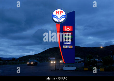 llluminated sign of Petrol Pump of Hindustan Petroleum at Mumbai Pune Expressway Maharashtra India Asia - nmk 106027 - Stock Photo