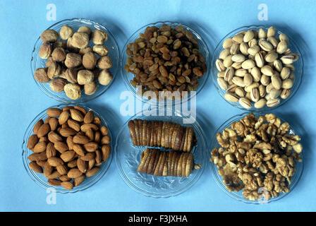 Pista ; Apricot ; Dry Fig ; Almond ; Walnut and Raisin ; Dry fruits for Diwali Festival ; Deepavali Borivali Mumbai - Stock Photo