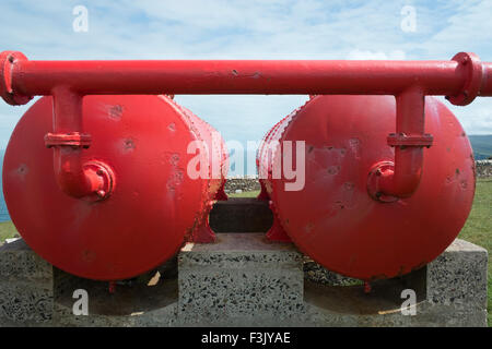 Compressed air tanks for the foghorn at Cape Wrath Lighthouse, Cape Wrath, Sutherland, Scotland - Stock Photo