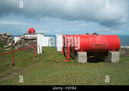 Compressed air tanks and Foghorn at Cape Wrath Lighthouse, Cape Wrath, Sutherland, Scotland - Stock Photo