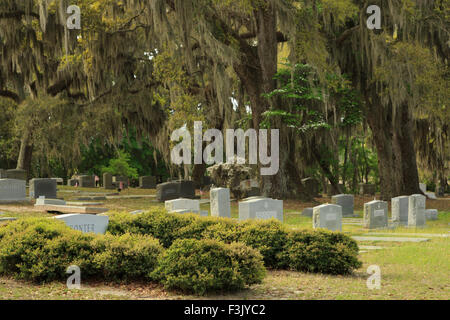 A colorful photograph of some gravestones in Bonaventure Cemetery in Savannah, Georgia. This is a public cemetery. - Stock Photo