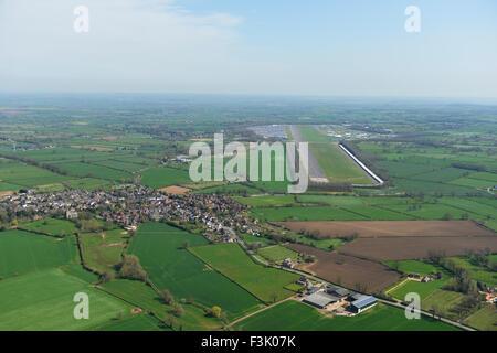 Aerial photograph of Bruntingthorpe Aerodrome and vehicle proving ground, Leicestershire - Stock Photo
