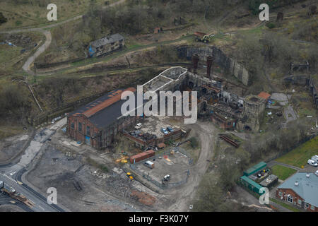 Aerial photograph of derelict steelworks, Brymbo - Stock Photo
