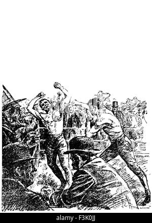 Vintage newspaper illustration depicting the famous bare-knuckle fight for the heavyweight Championship of America - Stock Photo
