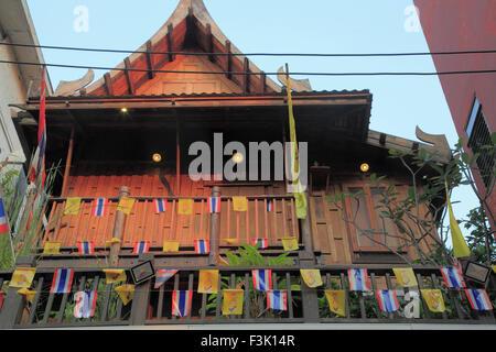 Thailand, Bangkok, Banglamphu, old house, - Stock Photo