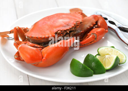 steamed mud crab isolated on white background - Stock Photo