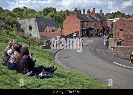Overview of the main street at the Black Country Living Museum Dudley West Midlands England UK - Stock Photo