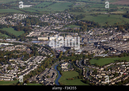 aerial view of the the North Yorkshire market town of Skipton, UK - Stock Photo