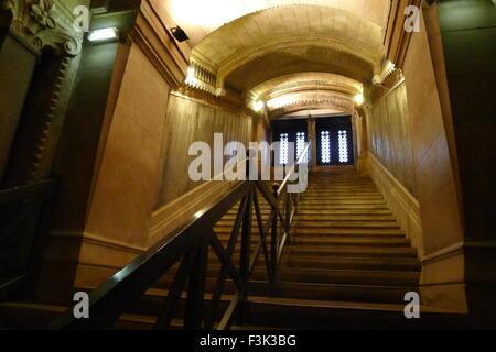 Staircase of Basilica of Notre-Dame de Fourvière, Lyon, France - Stock Photo