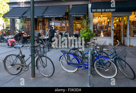 Bicycles Parked Outside Le Pain Quotidien And End Of History In Greenwich  Village In NYC