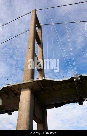UK, England, Yorkshire East Riding, Hessle, Humber Bridge pier - Stock Photo