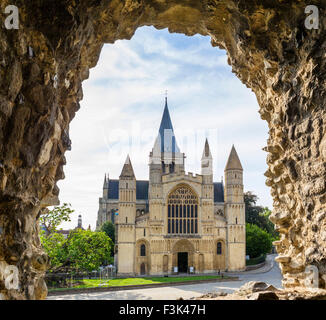 Rochester Cathedral (the Cathedral Church of Christ and the Blessed Virgin Mary) from the Castle, Rochester, Kent, - Stock Photo