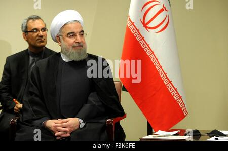 Iranian President Hassan Rouhani at U.N. headquarters September 28, 2015 in New York City, NY. - Stock Photo