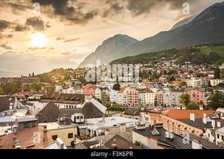 INNSBRUCK, AUSTRIA - SEPTEMBER 22: View over the city of Innsbruck, Austria on September 22, 2015. Innsbruck is - Stock Photo