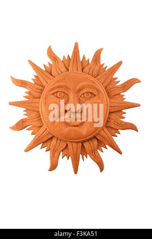 Mexican traditional Mayan culture wooden carved sun symbol plate isolated on white - Stock Photo