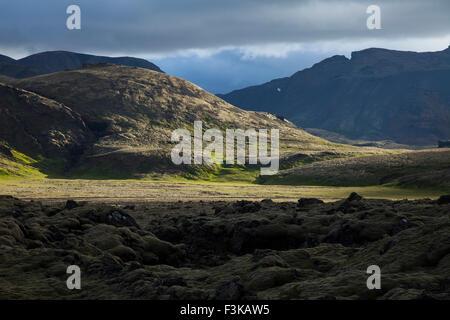Volcanic mountain landscape near Hveragerdi, Sudherland, Iceland. - Stock Photo