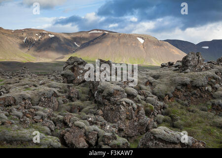 Moss-covered lava field and mountains near Hveragerdi, Sudherland, Iceland. - Stock Photo