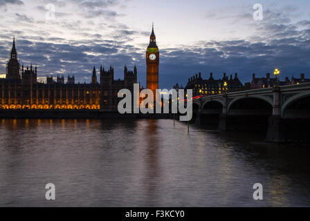 A view across the River Thames of the Houses of Parliament and Westminster Bridge in London. - Stock Photo