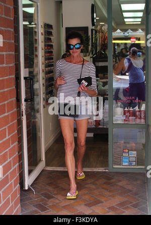 Janice Dickinson spotted leaving Beverly Hills Nail Design sporting a matching blue manicure and pedicure  Featuring: - Stock Photo