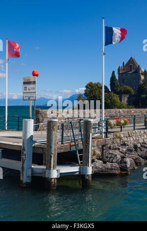 The ferry dock at the end of the jetty in Yvoire, Haute Savoie, France - Stock Photo